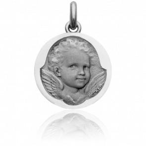 Médaille Ange Espiègle, Or Blanc 18K - Becker