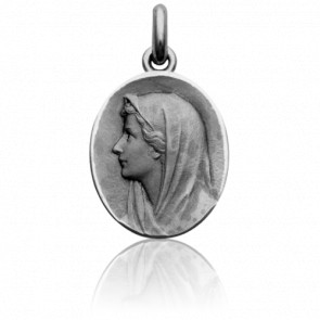 Médaille Vierge au voile Ovale, Or Blanc 18K - Becker