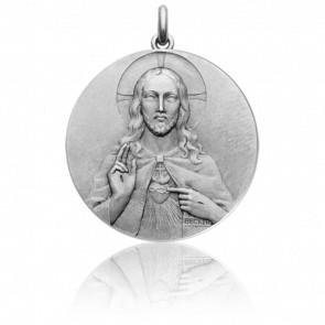 Médaille Christ et Vierge Scapulaire, Or Blanc 18K - Becker