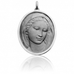 Médaille Vierge Florentine Ovale, Or Blanc 18K - Becker