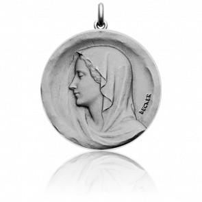 Médaille Vierge Regina Caeli, Or Blanc 18K - Becker