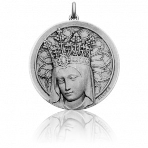 Médaille Vierge Couronnée, Or Blanc 18K- Becker