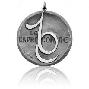 Pendentif Signe Astrologique Capricorne, Or Blanc 18K- Becker