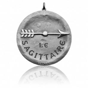 Médaille Signe du Sagittaire, Or Blanc 18K - Becker