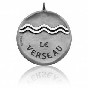 Médaille Signe du Verseau, Or Blanc 18K - Becker