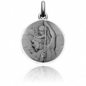 Médaille St Christophe de Lycie, Argent massif rhodié - Becker