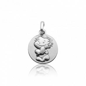 Médaille Câline, Or blanc 9 carats - La Fée Galipette