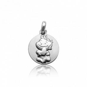 Médaille Rêveur, Or blanc 9 carats - La Fée Galipette