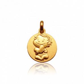 Médaille Câline, Or jaune 9 carats - La Fée Galipette