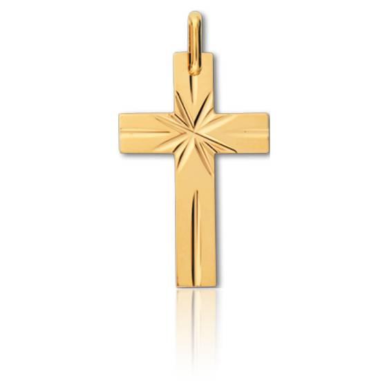 Pendentif croix motif étoilé, Or jaune 9 ou 18K - Lucas Lucor