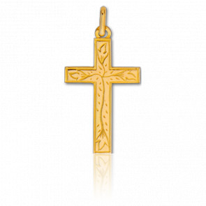 Pendentif croix fleurie, Or jaune 9 ou 18K - Lucas Lucor