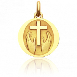 Médaille ronde Credo Deo, Or Jaune 18K - Becker