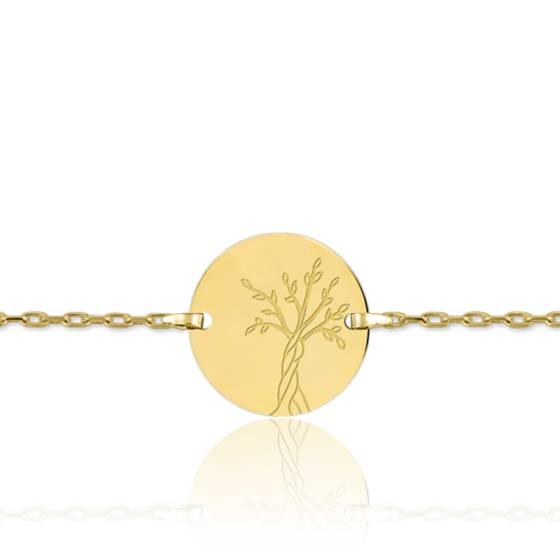 Bracelet gourmette Arbre de Vie, Or jaune 18K - Lucas Lucor