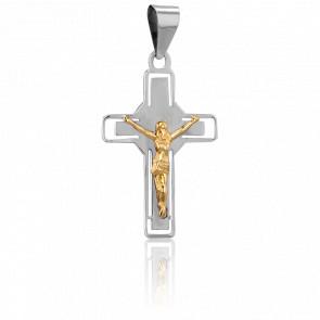 Christ en Croix de Nimbe, Or Blanc 18K - Vandona