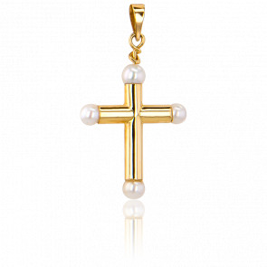 Croix Creuse Perles de Nacre, Or Jaune 9K - Vandona
