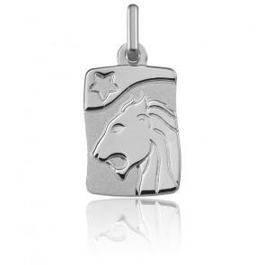 Pendentif zodiaque lion, Or blanc 9K - Argyor
