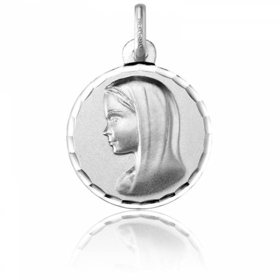 Médaille Vierge au voile, bord facetté, Or blanc 18K - Argyor