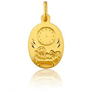 Médaille Enfant Jésus et Horloge, Or jaune 18K - Argyor