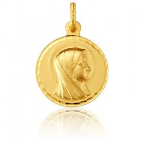 Médaille Vierge de profil, bord facetté, Or jaune 18K - Argyor