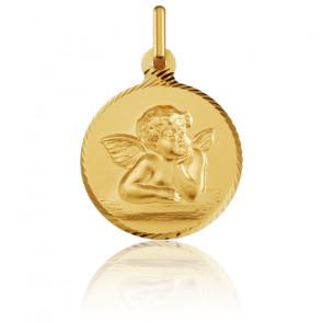 Médaille Ange Raphaël, bord strié, Or jaune 18K - Argyor