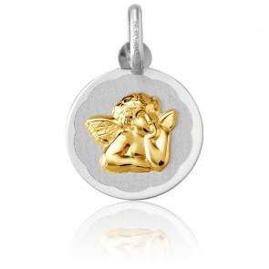 Médaille Ange Raphaël, bord fleuri, 2 Ors 18K - Argyor