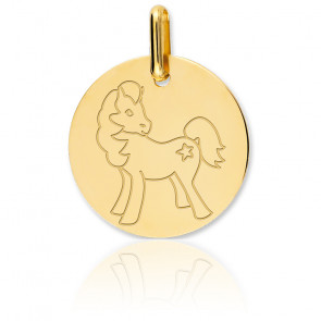 Médaille Cheval, Or jaune 18K - Lucas Lucor