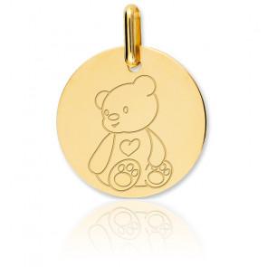 Médaille Ourson, Or jaune 18K - Lucas Lucor