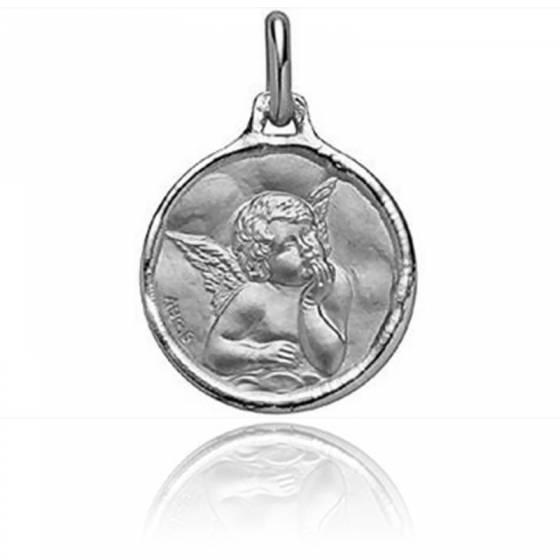 Médaille Ange Raphaël, bord cachet, Or blanc 18K - Augis