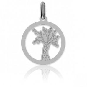 Médaille Arbre de Vie ajourée, Or blanc 18K - Lucas Lucor
