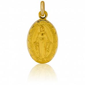 Médaille Miraculeuse, contour fleuri, Or jaune 18K - Pichard-Balme