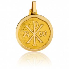 Médaille Chrisme, bord cachet, Or jaune 18K - Pichard-Balme