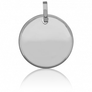 Médaille ronde à graver, Or blanc 18K - Pichard-Balme