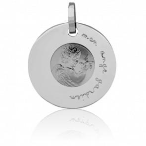 Médaille Ange à la Colombe, Or blanc 18K - Pichard-Balme