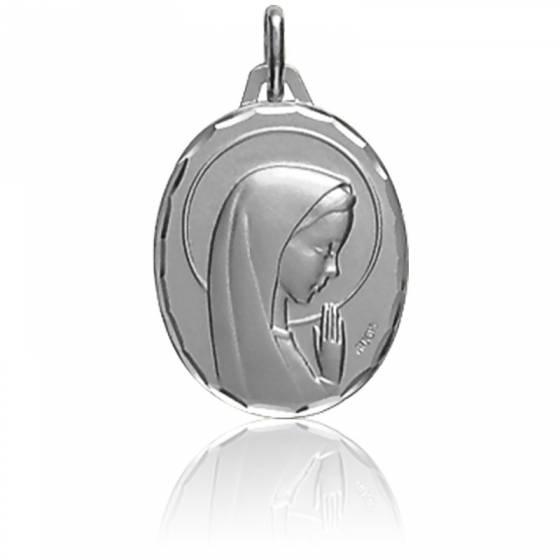 Médaille Vierge de profil, en prière, Or blanc 18K - Augis
