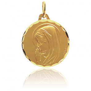 Médaille Vierge en prière, bord facetté, Or jaune 18K - Augis