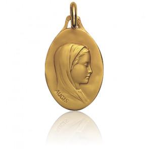 Médaille Vierge au voile, de profil, Or jaune 18K - Augis
