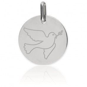 Médaille Colombe, Or blanc 18K - Lucas Lucor