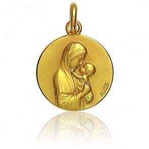 Médaille Vierge Marie et enfant Jésus, Or jaune 18K - Augis