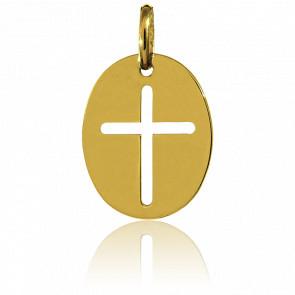 Médaille Croix ajourée, ovale, Or jaune 18K - Augis