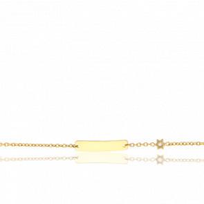 Gourmette bébé Etoile diamantée, Or jaune 18K - Vernet Dray