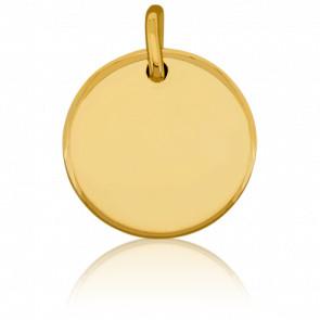 Médaille ronde à graver, Or jaune 18K - Emanessence