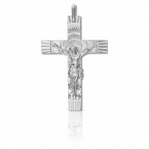 Croix Christ Solaire 30 x 42 mm, Or Blanc 18K - Lucas Lucor