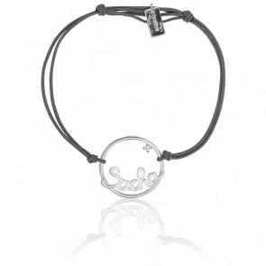 Bracelet personnalisé cercle 18 mm, Or blanc 9K et cordon