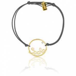 Bracelet cordon prénom cercle 18 mm, Or Jaune 9k