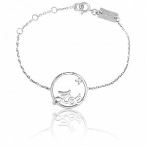 Bracelet prénom personnalisable cercle 15 mm, Or Blanc 9k