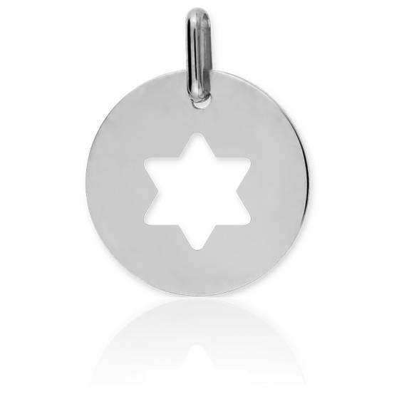 Médaille étoile de David, ajourée, Or blanc 18K - Lucas Lucor