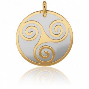 Médaille Triskel, Or jaune 18 carats et acier gris - Lucas Lucor