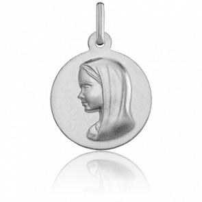 Médaille Vierge au Voile, lisse, Or blanc 18K - Argyor