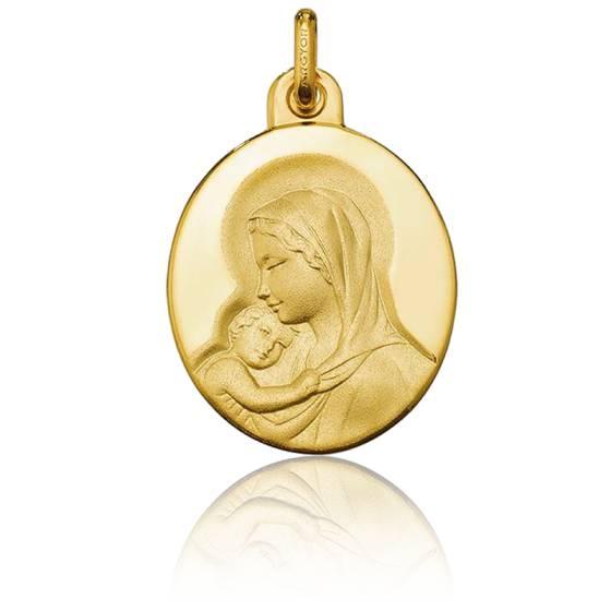 Médaille Vierge à l'Enfant, ovale, Or jaune 18K - Argyor