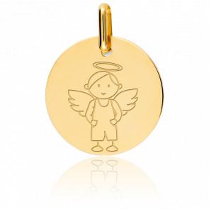 Médaille My Angel Garçon, Or jaune 9K - Lucas Lucor